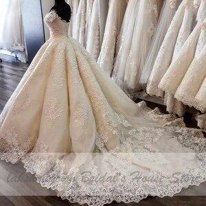 Image 2 - Vestido de novia de lujo de Dubái, bordado de encaje, africano, turco, sin hombros, hecho a medida, 2020