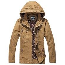 Mens Jacket Casual Slim Cotton Agent Hood Pilot Windbreaker Jackets Streetwear Camouflage Bomber