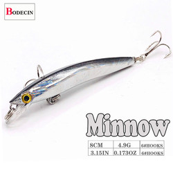 Wobbler Minnow Floating Hard Plastic Artificial Bait For Fishing Lure Tackle Bass 8cm 3d Eyes Topwater 2 Fish Hook Crankbait 1pc