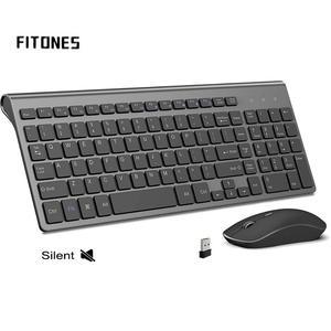 Беспроводная клавиатура 2,4 GHz-mouse 2400 точек/дюйм, эргономичный, USB стабильное соединение, подходит для рабочего стола, ноутбука, черный, серый, ...