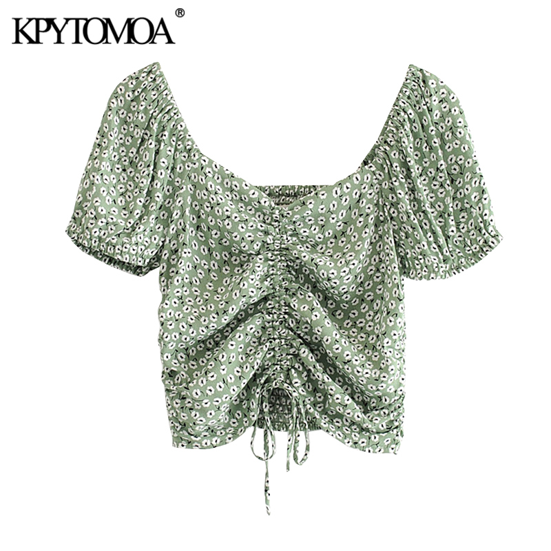 KPYTOMOA Women 2020 Fashion Floral Print Drawstring Tied Cropped Blouses Vintage V Neck Back Elastic Female Shirts Chic Tops