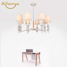 Simple Wrought Iron Solid Wood LED Chandelier With Fabric Lampshade For Living Room kitchen Chandeliers Lighting vintage american chandeliers living room light fixtures copper wrought iron white fabric lampshade chandelier lustre 110 240v