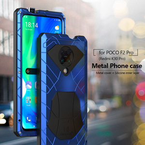For Xiaomi POCO F2 Pro Redmi K30 Pro POCO X3 NFC Phone Case Hard Aluminum Metal Heavy Duty Protection Cover with Tempered Glass
