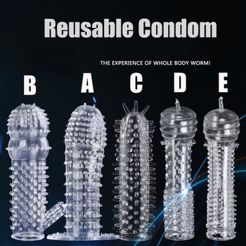 durex pleasure ring for condom enlargement ring penis sleeve extender sex toys erotic safe products for men ejaculation delay 5 Types Reusable Condom Penis Extender Sleeve Screw Thread Cock Ring Dildo Sheath Condoms Delay Ejaculation Sex Toys for Men