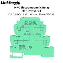 MRC-25D51C24 1NO Elektromagnetische Spoel Interface Relais Module Din 24VDC Input 5A 250VDC/Ac Uitgang Industriële Voltage Relais Board