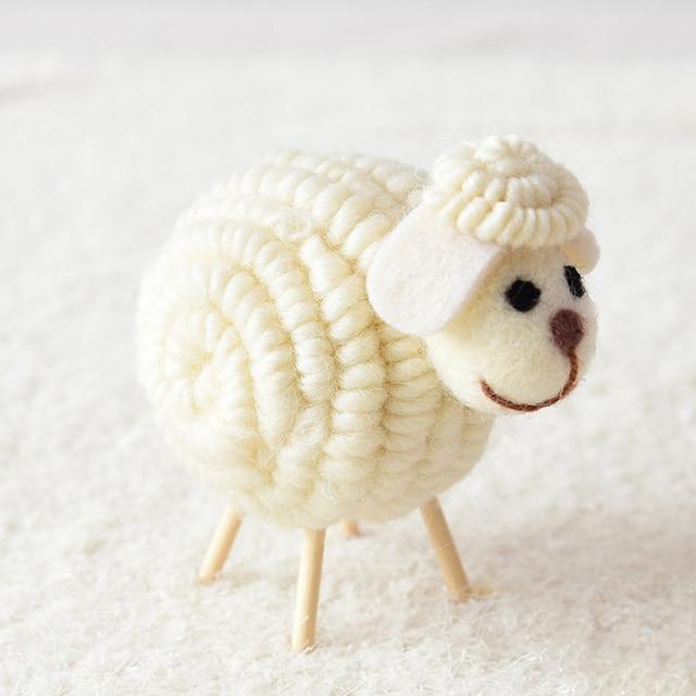 12 CM Innovative Wool Felt Cute Sheep Shape Children's Room Decoration Ornament Soft Toys Dolls Kawaii Sheep Alpaca Plush Toys 6