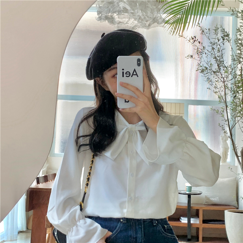 New   Fashion Women Sweet Bow Tie Neck Ruffles Chiffon Shirts Full Sleeve Loose Blouse Ladies Casual Solid TopsFOR 2020