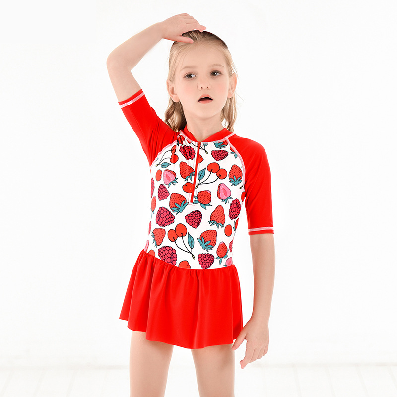 2019 Europe And America New Style Hot Sales KID'S Swimwear Dress-Small Stand Collar Boxer Half-sleeve Shirt Sun-resistant GIRL'S