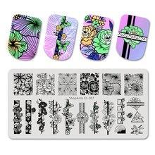 Shopants пластины для стемпинга ногтей природа в полоску с цветочным
