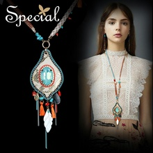 Special New Fashion Sea Shell Necklaces & Pendants Natural Stone Long Necklace Opal Statement Jewelry Gifts for Women S1626N