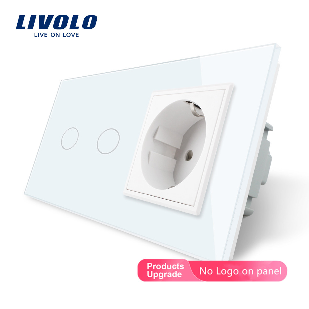 Livolo 16A EU Standard Wall Power Socket With Touch Switch, AC220~250V,7 Colors Crystal Glass Panel, C702-C7C1EU-11,no Logo