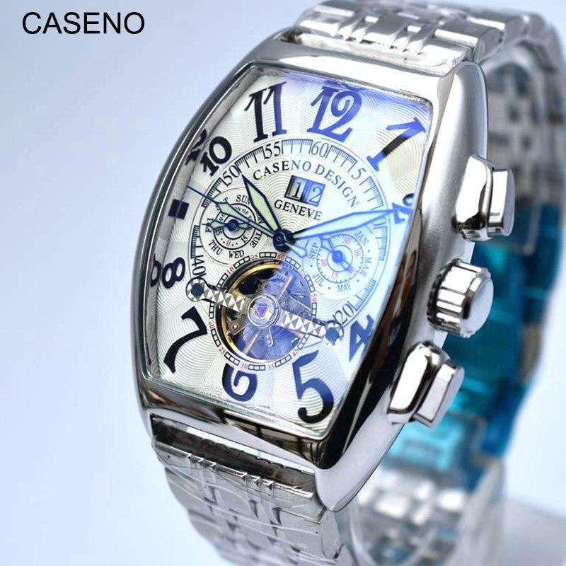 Tourbillon squelette automatique mécanique hommes montres Top marque de luxe militaire Sport montre en acier inoxydable mâle horloges CASENO