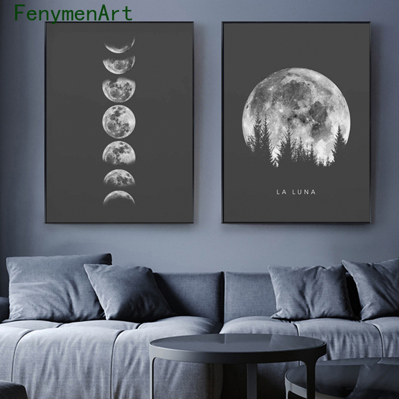 Minimalist Moon Poster Black White Moon Phases Canvas Painting Modern Picture Nordic Wall Art print for Living Room Home Decor