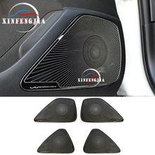 Para toyota corolla 2020 4 * porta do carro inoxidável preto falante estéreo decorar capa guarnição