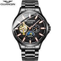 GUANQIN 2018 novos homens relógio Automático à prova d' água Luminosa esqueleto dos homens relógios top marca de luxo relógio de couro dos homens erkek kol saati