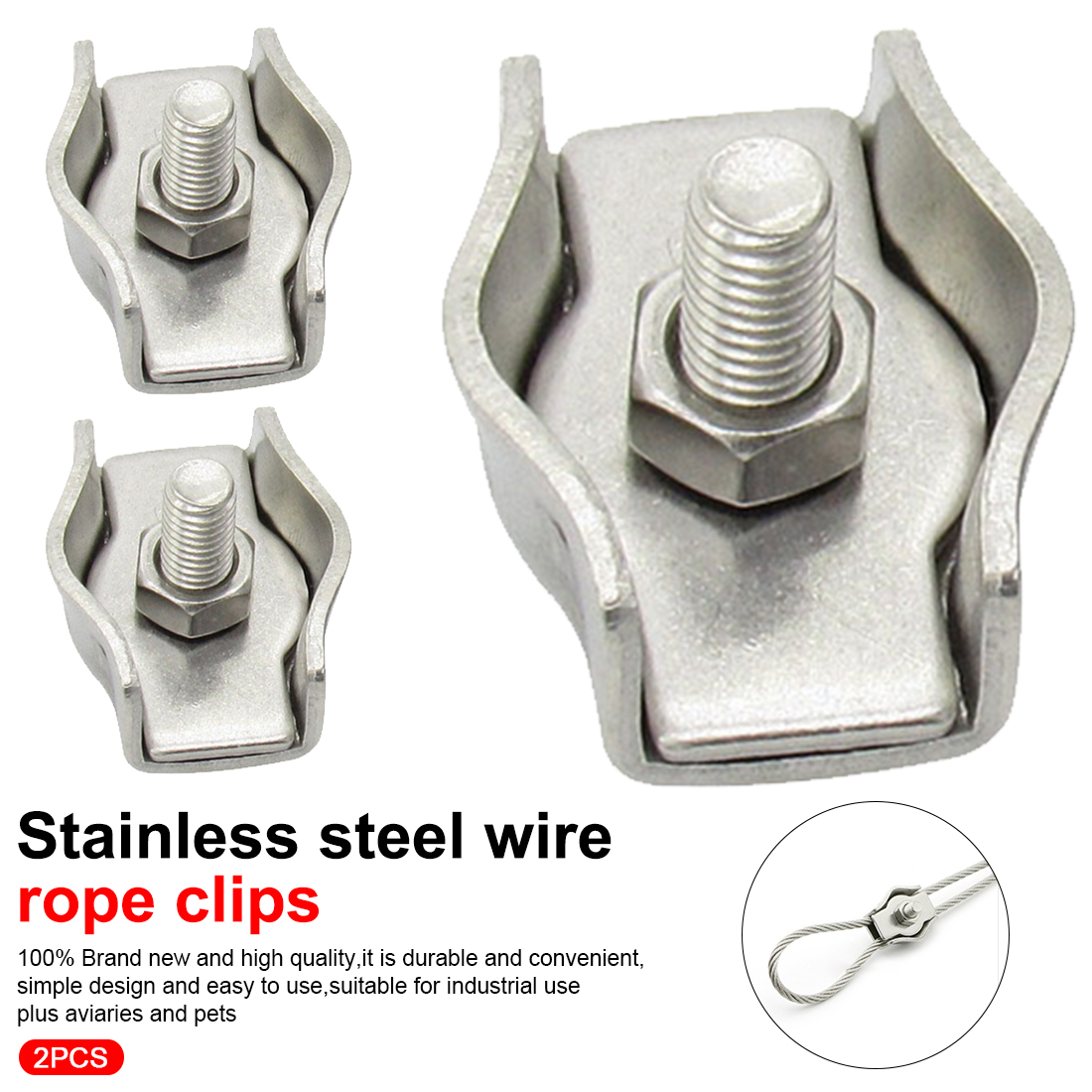 2mm WIRE ROPE CLIPS cable clamp galvanized steel metal connect fixing grip