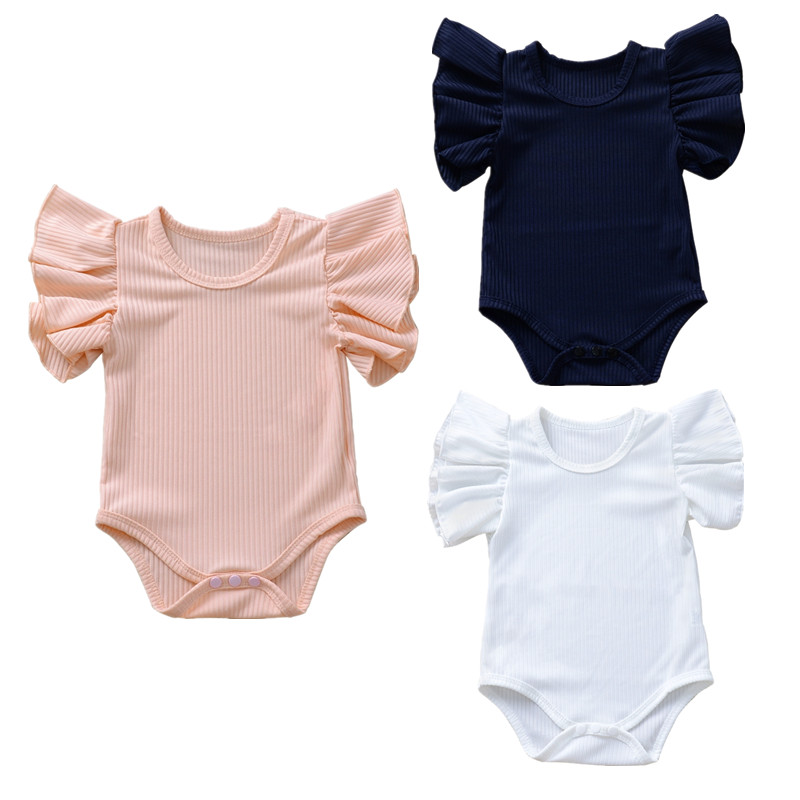 Cute Summer Newborn Baby Bodysuits Cotton Knit Infant Kids Solid Fly Sleeve Jumpsuits Princess Sweet Bodysuits Sunsuit 0-18M