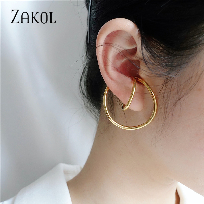 ZAKOL Fashion Circle Shape Gold Color Copper Clip Earrings for Women Girls Simple Party Dinner Dress Ear Jewelry FSEP3015(China)