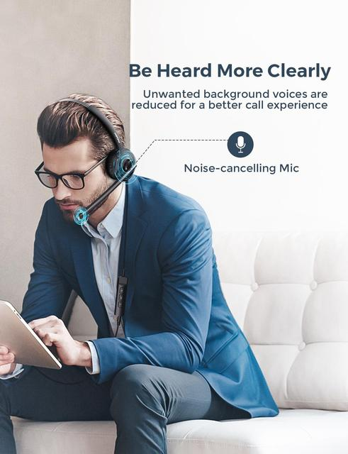 BH323 Office Wired Headset Stereo Computer Headphone with Noise Cancelling Mic 3.5mm PC USB Headset for Driver/Call Center 5