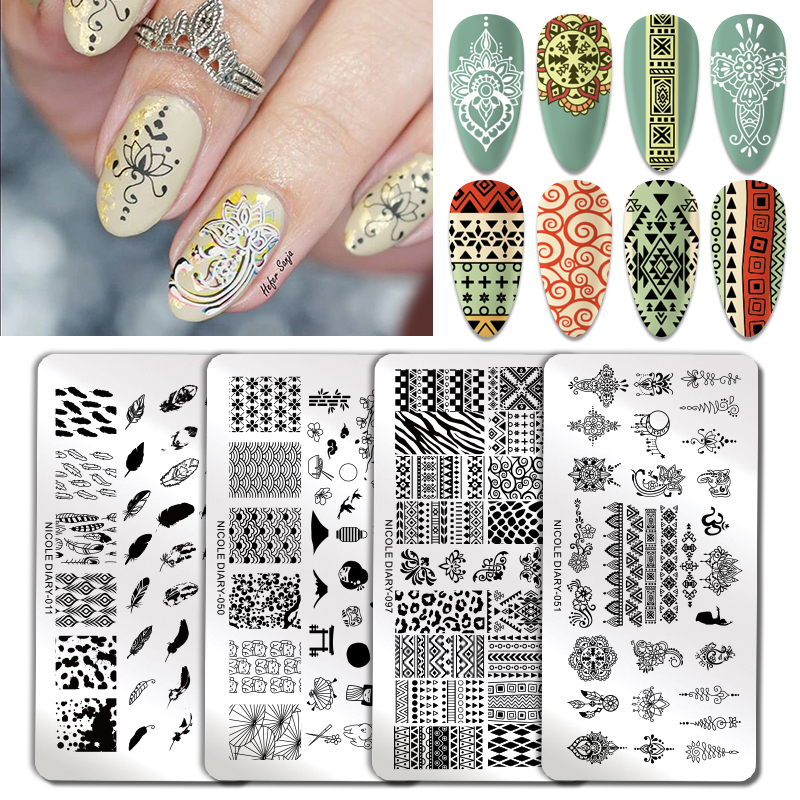 NICOLE DIARY dream catcher Stamp Plates Fire Lace Flower Image Nail Stamping Template Stencil Art Printing Tool