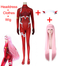 Anime DARLING in the FRANXX Code002 Cosplay Costume Includes Pink Wig Devil Horns Headdress Halloween Carnival Costume For Women