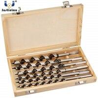 JUSTINLAU 6Pcs/set 230mm Long 6/8/10/12/16/20mm Auger Drill Bits Wood Carpenter Masonry Wood Drills Set for woodworking