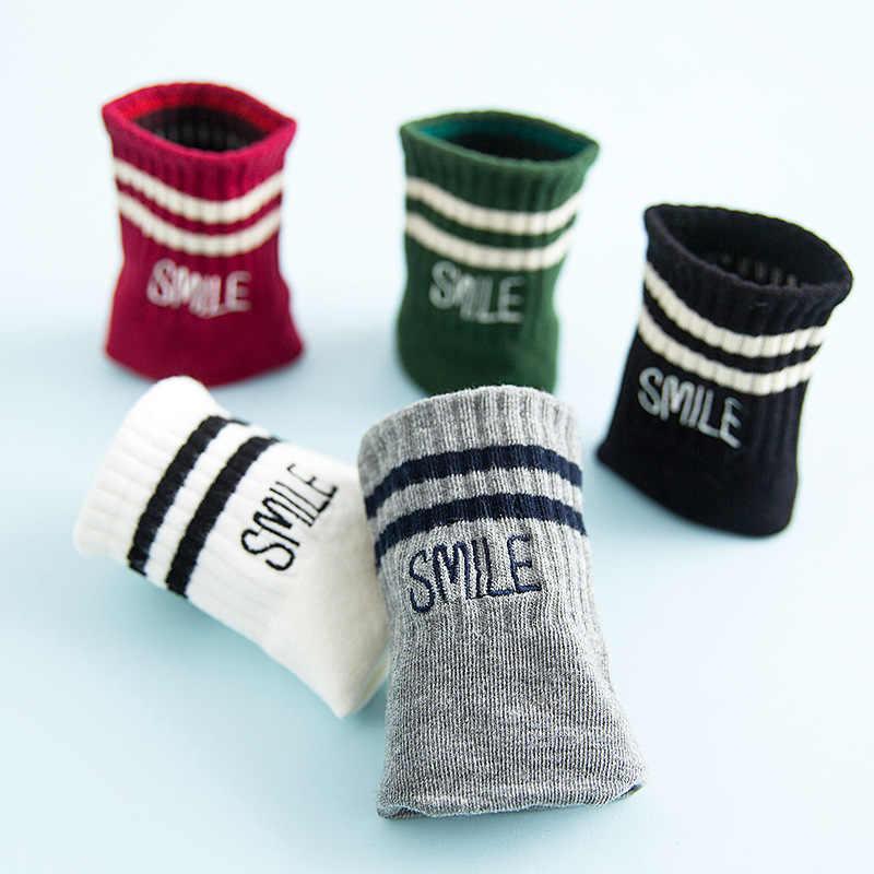 Весенне осенние полосатые женские носки хлопковые черно белые Kawaii Носки Женские