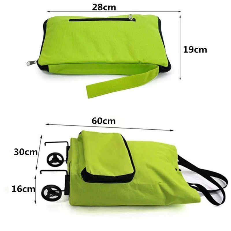 Zielony składany wózek sklepowy do supermarketu torba światło na koła waga o dużej pojemności przyjazne dla środowiska torba składana podróży wózek bagażu