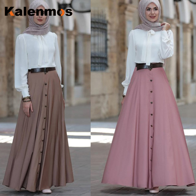 Plus Size S-5XL Muslim Long Skirt Women Dubai Arab Elegant High Waist Button Solid A-line Skirts Large Swing Islamic Clothing