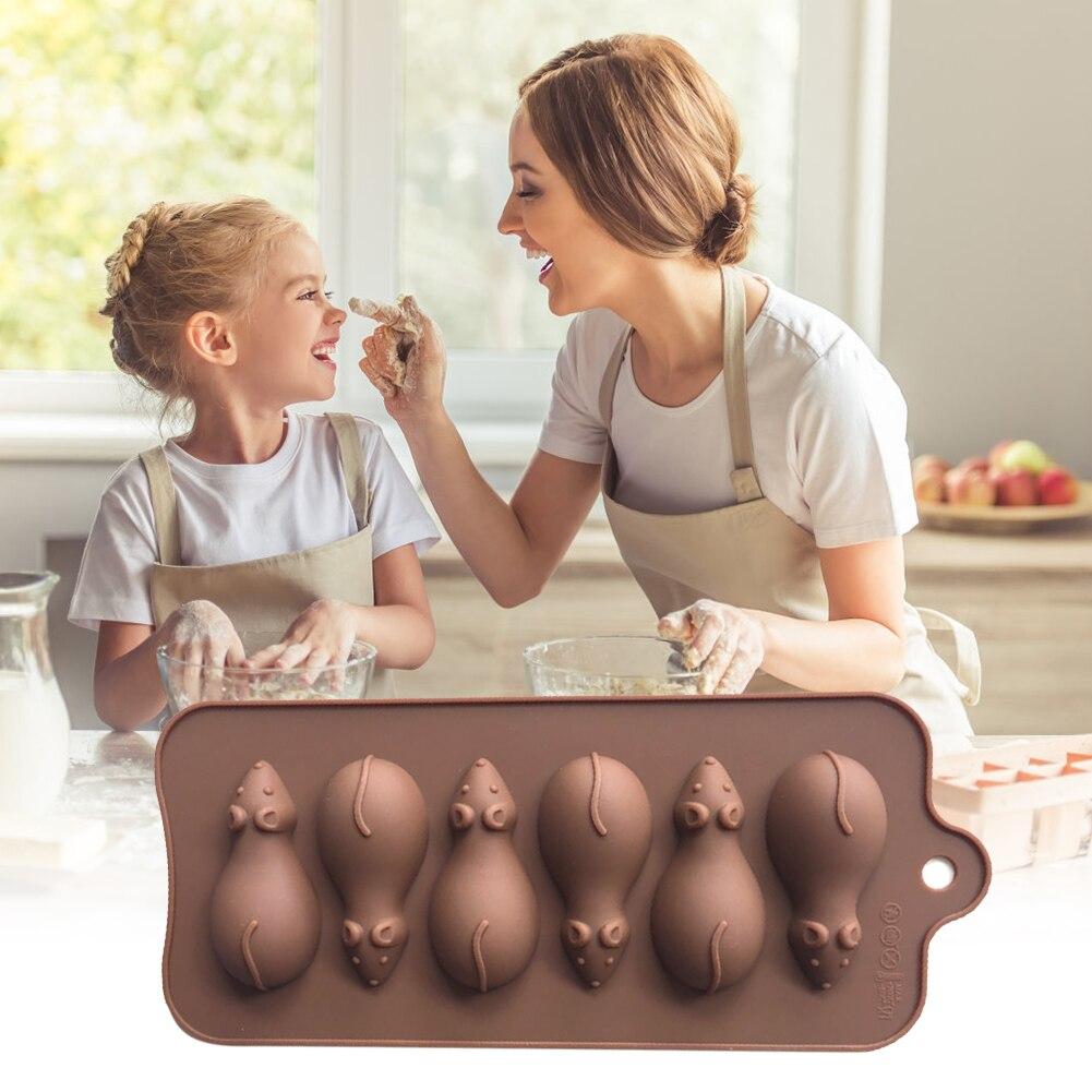 إكسسوارات ديكور منزلي 6 تجويف ماوس فأر قالب من السيليكون لكعكة شوكو أواخر علبة ثلج الحلوى الحلوى لتقوم بها بنفسك قوالب مخبوزة