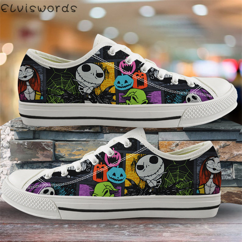 ELVISWORDS The Nightmare Before Christmas Print Women Canvas Shoes Low Top Vulcanized Shoes For Lady Lightweight Spring Sneakers