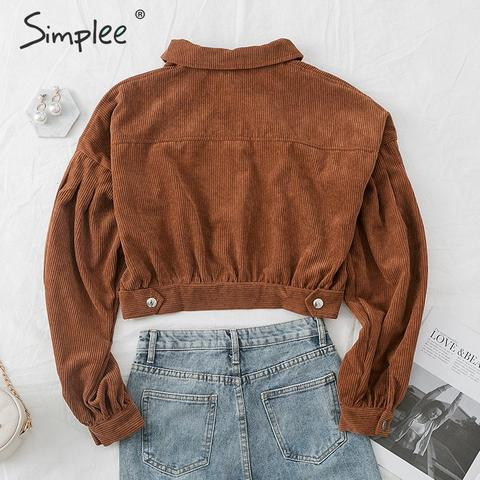 Simplee Casual corduroy buttons long sleeve jackets women 2019 Autumn winter office lady solid coat Female lapel short jackets Lahore