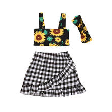 2019 Fancy Kids Baby Girl Summer Clothes Sunflower Tank Tops+Checks Skirts+Headband 3PCS Outfit 1-5Y Dropshipping(China)