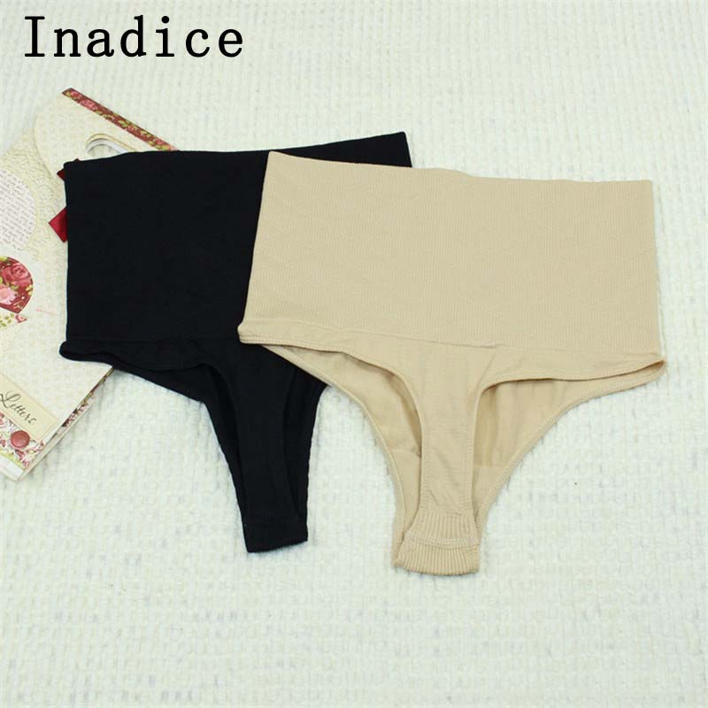 Inadice New Women High Waist Control Thong Pants Fashion Polyester Nylon Seamless Corset Belt Body Shaper Sexy Women Clothes