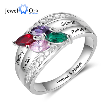 JewelOra Personalized 4 Names Engraved Ring with Birthstone Customize Silver Color Wide Rings for Women Mother Kids Jewelry Gift vintage engraved floral bracelet with ring for women