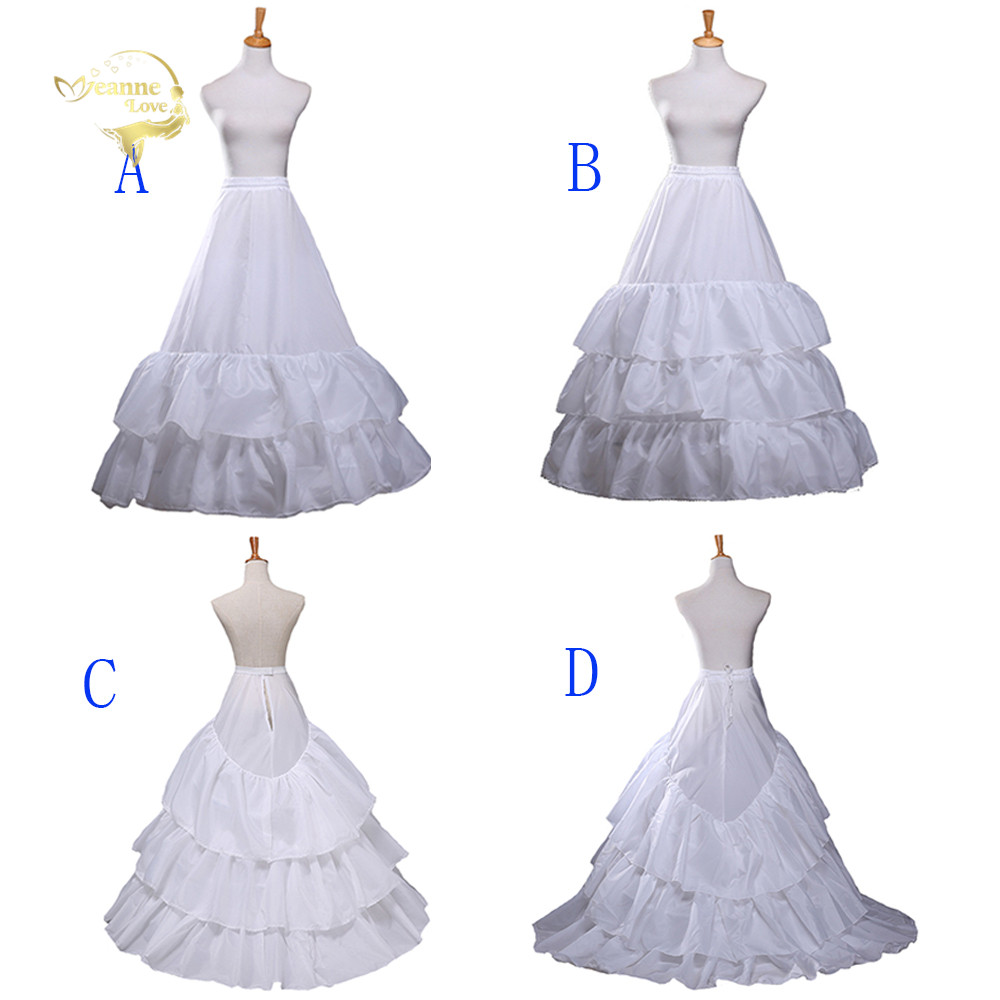 2020 New Hot Sell Wedding Petticoats Hoop Crinoline Slip Bridal Dress Train/A Line Underskirt Prom Long Skirt Slips In Stock