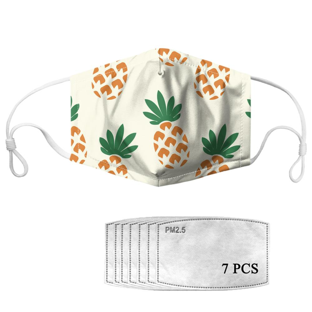 HYCOOL 2020 Cartoon Fruit Pineapple Pattern Children Women Men Unisex Mouth Masks Outdoor Walking Dust-proof Face Mask Filters