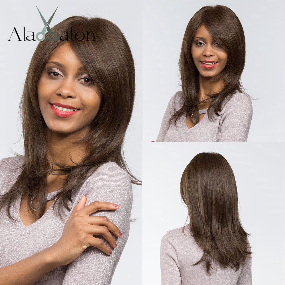ALAN EATON Medium Straight Synthetic Hair For Black Women Afro Daily Costume Cosplay Wigs Black Brown High Temperature Fiber