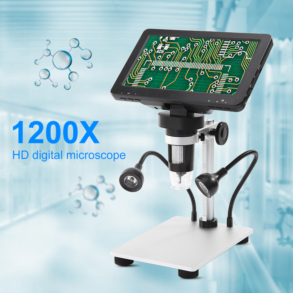 1200X 12MP Mega Pixels Digital Microscope USB 7 Inch HD Screen Magnifier Remote Control Electronic Endoscope Camera for PC