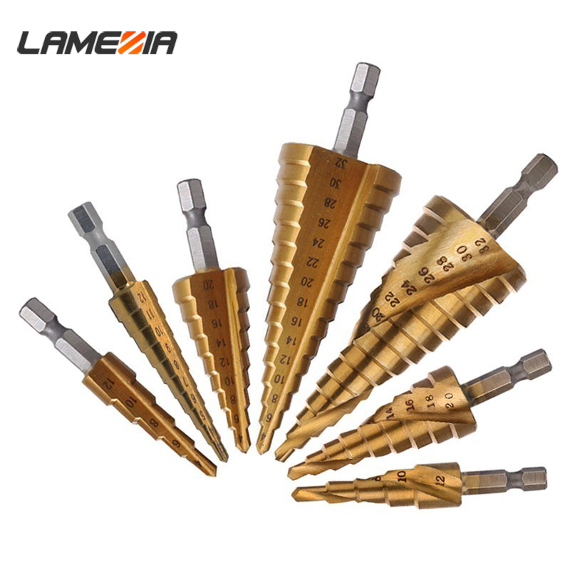 LAMEZIA HSS Titanium Hex Stepped Drill Bits For Metal Drilling 3-12/4-12/4-20/4-32 Carpenter Tools