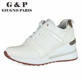 White wedge sneakers casual wedges women shoes height increase 6cm woman platform shoes fashion high quality leather insole