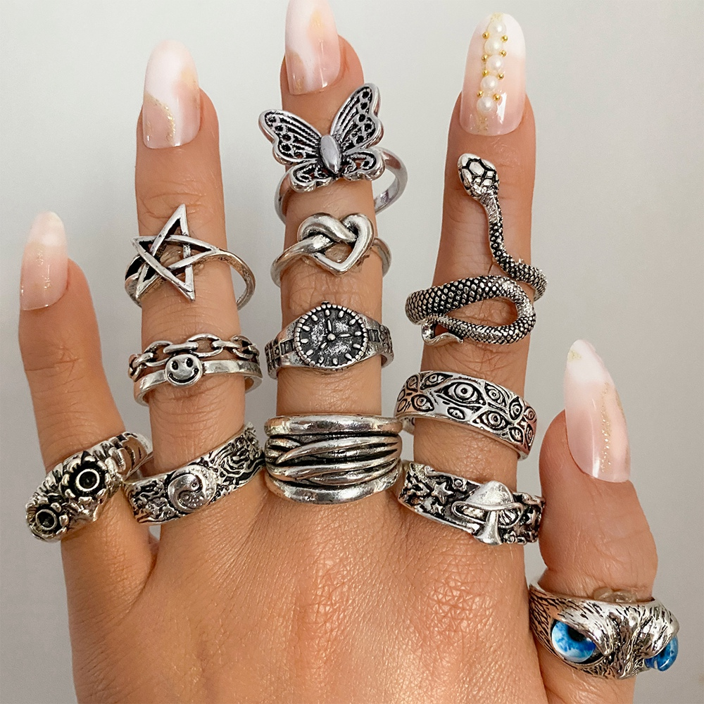 FAMSHIN Retro Punk Butterfly Snake Ring For Men Women Personality Geometry Antique Siver Color Fashion Opening Adjustable Rings