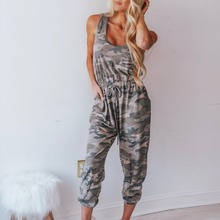 2019 Summer Novel Fashion Cotton Sleeveless Womens Jumpsuit Beautiful Comfortable Casual Drawstring Camouflage