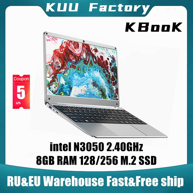 KUU KBooK 14.1 inch Intel N3350 8GB DDR4 RAM 256GB SSD Notebook IPS Laptop Full Layout Keyboard additional Sata 2.5 port 1