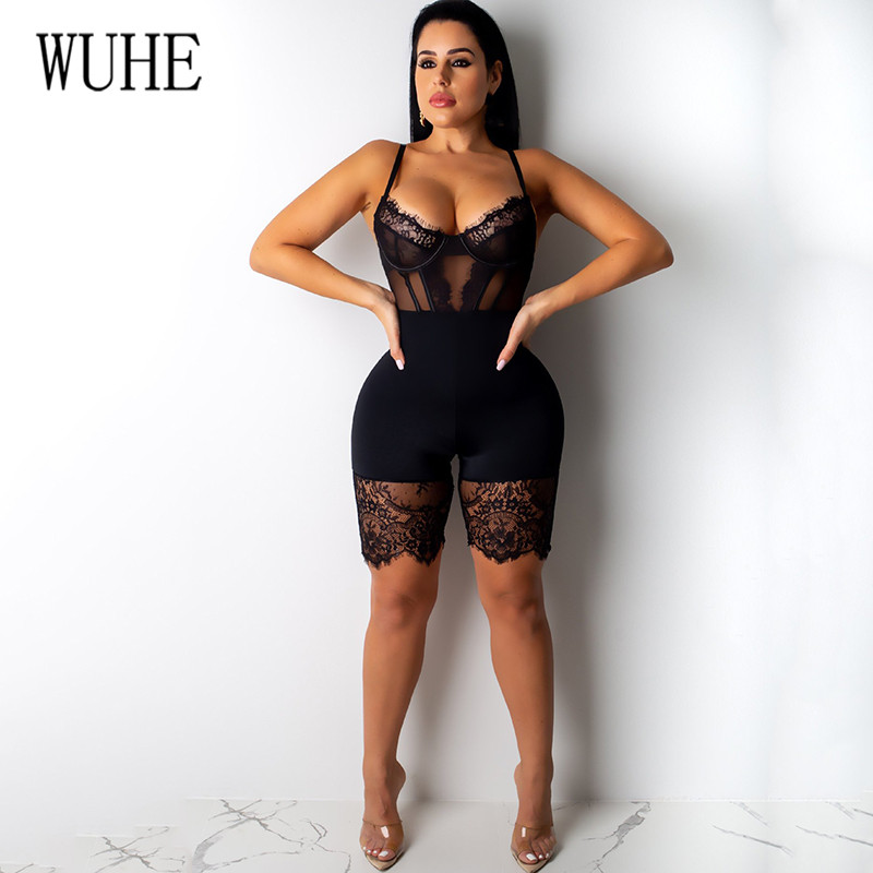 H6568299b726146e185046d7bfd174ee8z - WUHE Lace Patchwork Sexy Spaghetti Strap Jumpsuits Women Off Shoulder Sleeveless Elegant Bodycon Bandage Party Short Playsuits