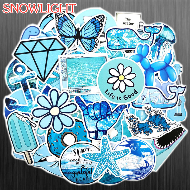 50 PCS Cartoon Blue Cure Fowers Starfish Toy Stickers Waterproof For DIY Suitcase Laptop Bicycle Helmet Car Decals