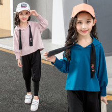New Spring Teens Girls Long-Sleeve Sports Set Baby Girl Hooded Sweater Suit Kids Clothes Teens Top + Harem Pants Tracksuits new 2017 spring autumn kids girls sports suit tiger print girls set long sleeve top