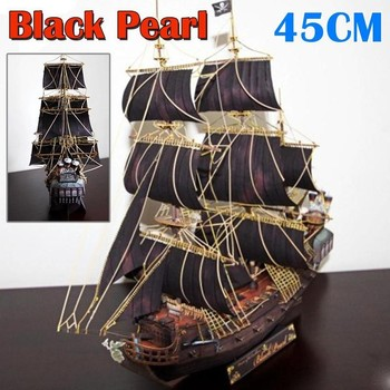 1:200 Scale Sailboat Model 45CM DIY Ship Assembly Model Kits Classical Handmade Wooden Sailing Boats Children Toys Gift 1