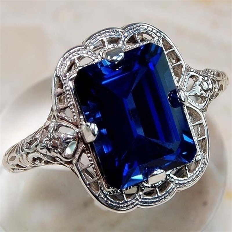 925 Silver Color Diamond Sapphire Ring Fine Luxury Bizuteria Blue Topaz Gemstone Engagement Jewelry 925 Diamond Ring For Women