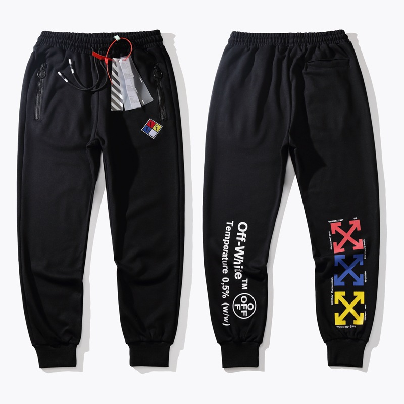 Autumn Popular Brand Ow Men Thin Casual Pants Teenager Looped Pile Skinny Trousers